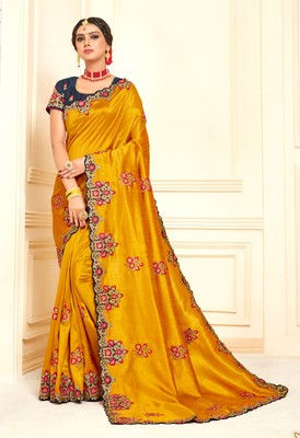 Mustard Poly Silk Embroidered Designer saree with blouse