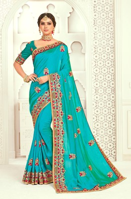 Blue Poly Silk Embroidered Designer saree with blouse