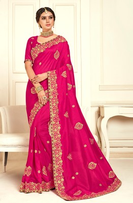 Magenta Poly Silk Embroidered Designer saree with blouse