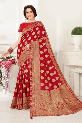 Red Banarasi Silk Jaqcard Work Heavy Work Designer saree with blouse