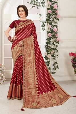 Maroon Banarasi Silk Jaqcard Work Heavy Work Designer saree with blouse