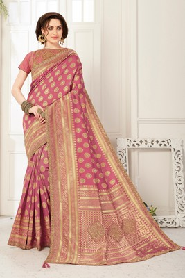 Pink Banarasi Silk Jaqcard Work Heavy Work Designer saree with blouse