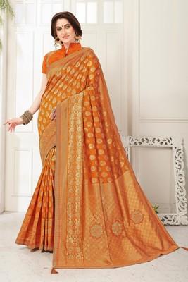 Orange Banarasi Silk Jaqcard Work Heavy Work Designer saree with blouse