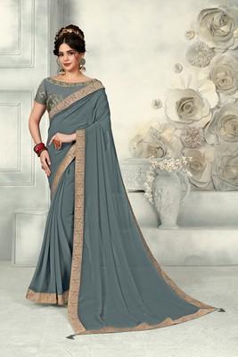 Grey Poly Silk Jaqcard Border Designer saree with blouse