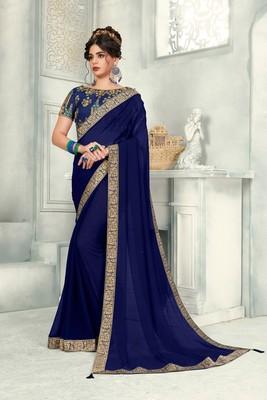 Blue Poly Silk Jaqcard Border Designer saree with blouse
