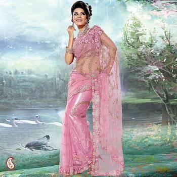Lavender Pink Embroidery Net Sari