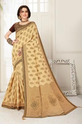 Beige Banarasi Silk Jaqcard Work Heavy Work Designer saree with blouse