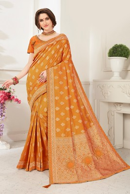 Mustard Banarasi Silk Jaqcard Work Heavy Work Designer saree with blouse