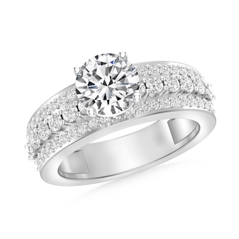 Cubic Zirconia Rhodium Plated Solitaire with Accent Women Ring