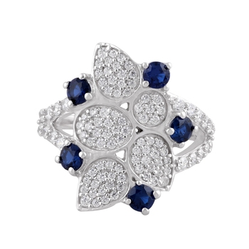 Blue Cubic Zirconia Rhodium Plated Women Cocktail Ring