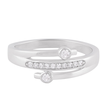 Rhodium Plated Cubic Zirconia Finger Band for Women