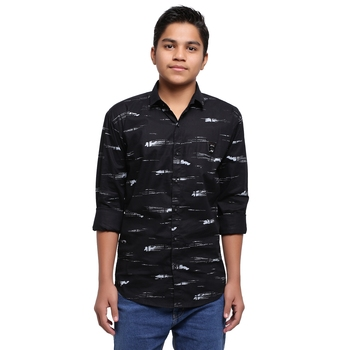 Blue Printed Polyester Shirt for Boys