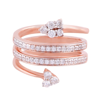 Rose Gold Plated Cubic Zirconia Women Bypass Ring