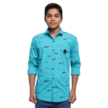 Turquoise Printed Polyester Shirt for Boys