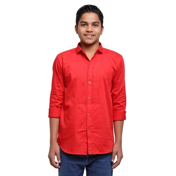 Red Solid Printex Polyester Shirt for Boys