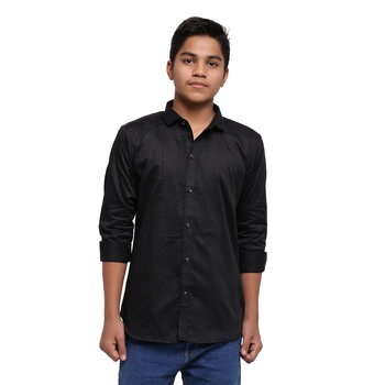 Black Solid Printex Polyester Shirt for Boys