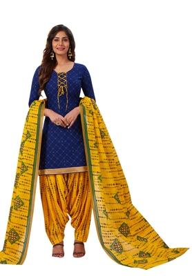 Women's Blue & Yellow Cotton Printed Readymade Patiyala Suit Set