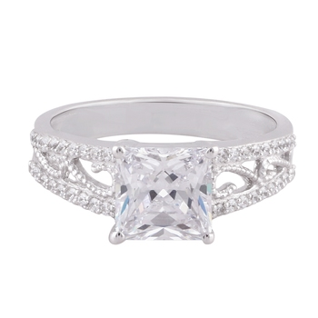 Cubic Zirconia Rhodium Plated Women Solitaire With Accent Ring