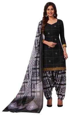 Women's Black & White Cotton Printed Readymade Patiyala Suit Set