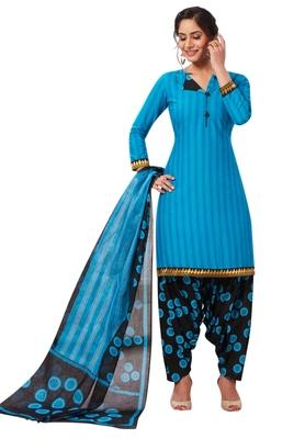 Women's Blue & Black Cotton Printed Readymade Patiyala Suit Set
