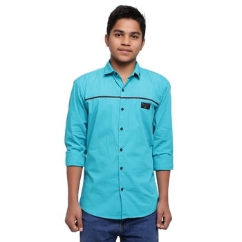Turquoise Solid Polyester Shirt for Boys