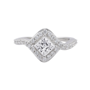 Rhodium Plated Cubic Zirconia Women Ring Gift For Her