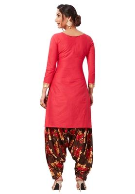 Women's Pink & Dark Brown Cotton Printed Readymade Patiyala Suit Set
