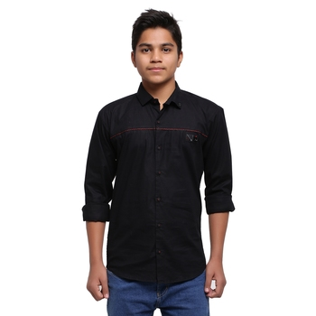 Black Solid Polyester Shirt for Boys