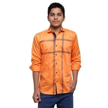 Orange Printed Polyester Shirt for Boys