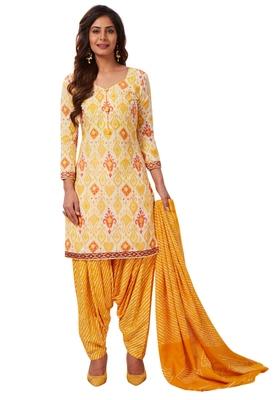 Women's Yellow & White Cotton Printed Readymade Patiyala Suit Set