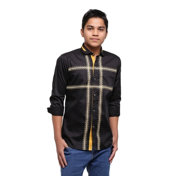 Black Printed Polyester Shirt for Boys
