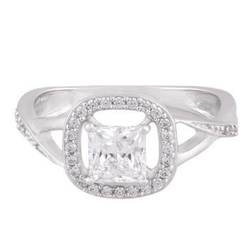 Rhodium Plated Cubic Zirconia Women Halo Ring