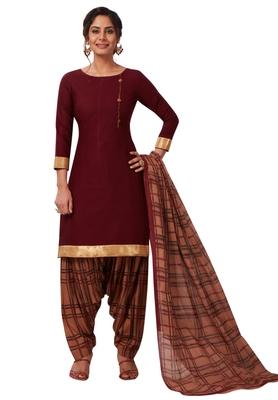 Women's Brown & Beige Cotton Printed Readymade Patiyala Suit Set