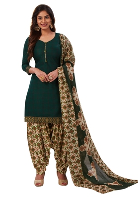 Women's Bottle Green & Beige Cotton Printed Readymade Patiyala Suit Set