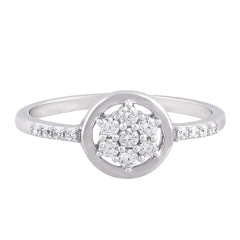 White Cubic Zirconia Rhodium Plated Women Floral Ring