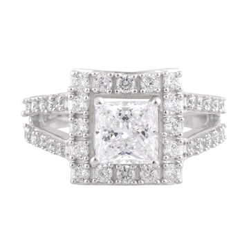 Cubic Zirconia Rhodium Plated Engagement Finger Ring