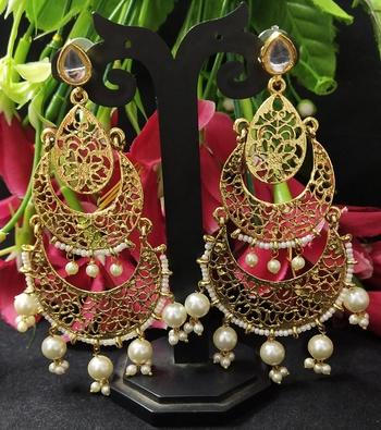 Ethnic Indian Bollywood Chandbali Long Pearl Kundan Hanging Earrings Set