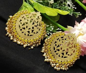 Ethnic Indian Bollywood Chandbali Yellow Pearl Kundan Earrings Set
