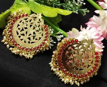 Ethnic Indian Bollywood Chandbali Red Pearl Kundan Earrings Set