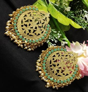 Ethnic Indian Bollywood Chandbali Mint Green Pearl Kundan Earrings Set