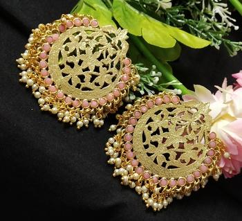 Ethnic Indian Bollywood Chandbali Pink Pearl Kundan Earrings Set