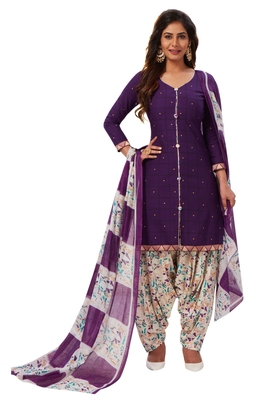 Women's Purple & Off White Cotton Printed Readymade Patiyala Suit Set