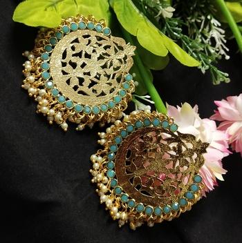 Ethnic Indian Bollywood Chandbali Pastel Blue Pearl Kundan Earrings Set