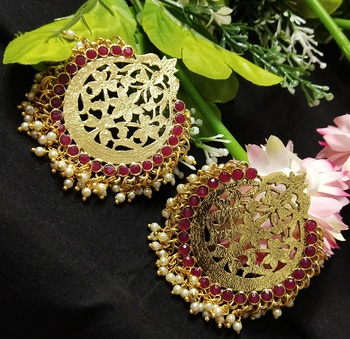 Ethnic Indian Bollywood Chandbali Ruby Pink Pearl Kundan Earrings Set