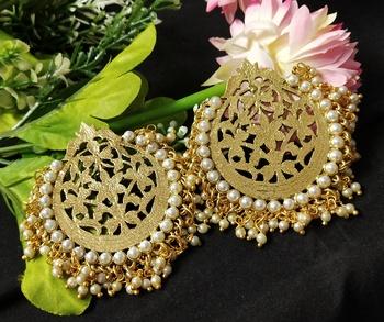 Ethnic Indian Bollywood Chandbali Pearl Dangle Earrings Set
