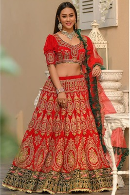 Red embroidered