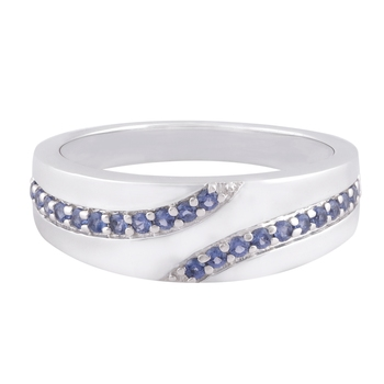 Blue Cubic Zirconia Rhodium Plated Band Ring Women Ring