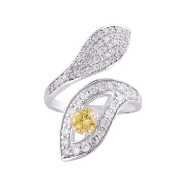 Rhodium Plated Yellow Cubic Zirconia Byepass Ring for Women