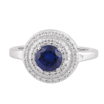Blue Cubic Zirconia Rhodium Plated Round Disc Ring for Women