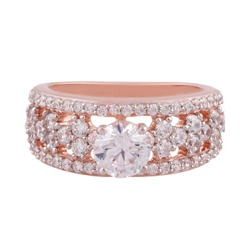 Rose Gold Plated Cubic Zirconia Ring for Women